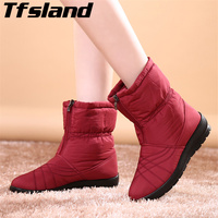 Tfsland Plus Size Waterproof Flexible Cube Woman Boots Top Quality Cozy Warm Fur Inside Winter Snow