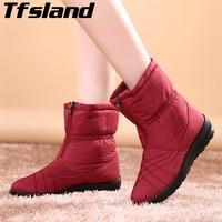 Tfsland Plus Size Waterproof Flexible Cube Woman Boots Top Quality Cozy Warm Fur Inside Winter Snow