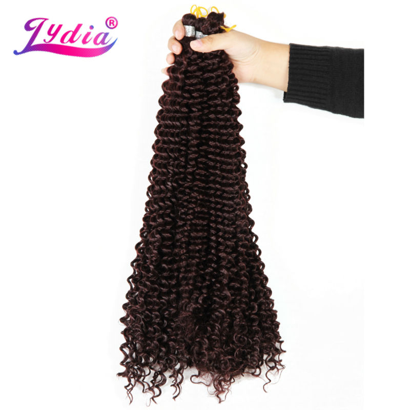 Lydia Freetress Bohemian Synthetic 28 3PCS lot Color 99J Crochet Braid Hair Extensions Crochet Latch Hook