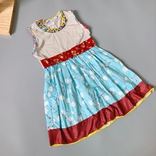 summer Lovely dark red flower cotton Ruffle Little girls dress Two packages for postage