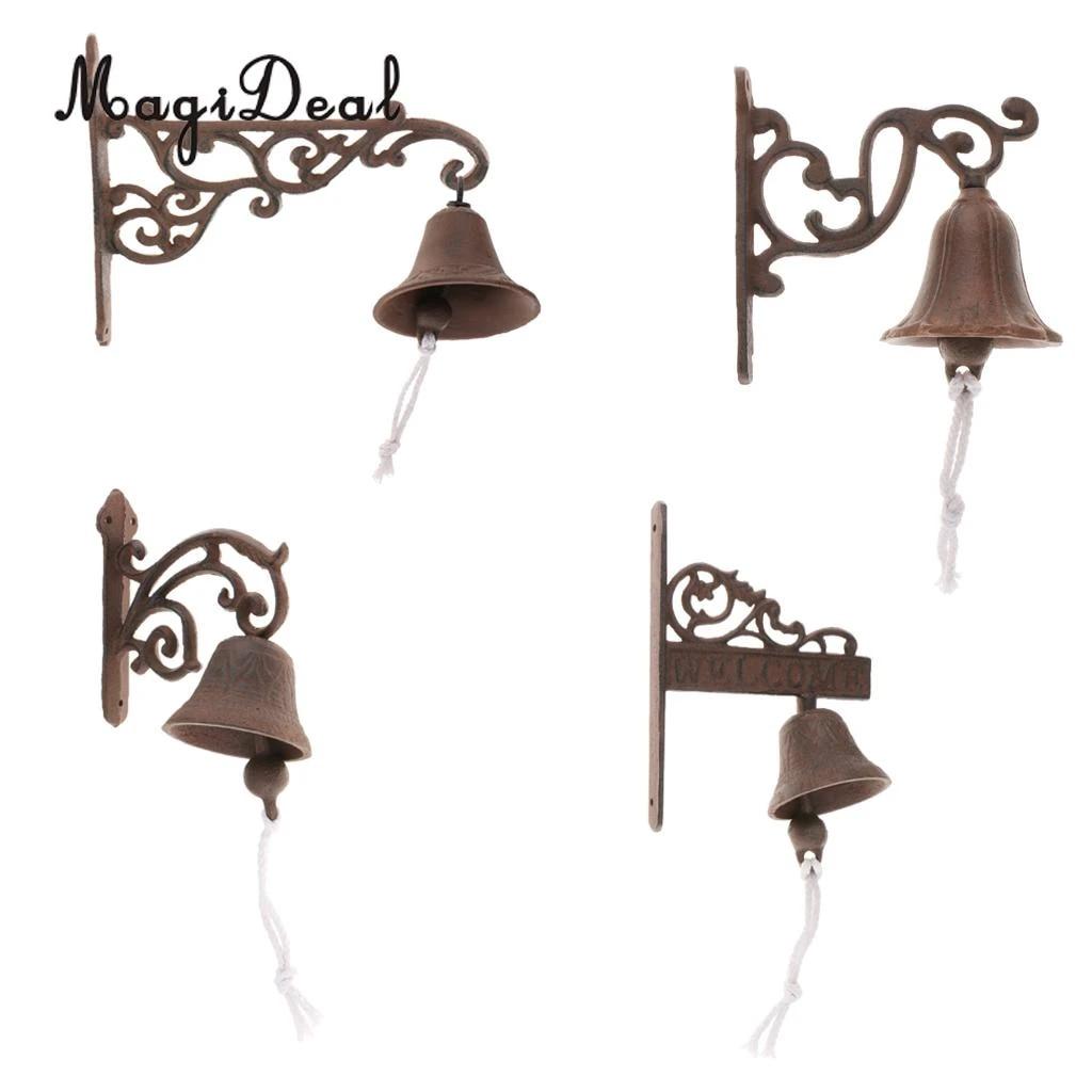 Picture of: Outdoor Dinner Bells Vintage Antique Cast Iron Bracket Mounts Bell Indoor Outdoor Wall Mounted Door Bells Figurines Miniatures Aliexpress