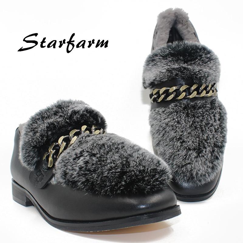 ФОТО shoes women grey rex rabbit fur copper metal chain genuine cow leather upper sheep wool ladies fashion Low-heeled pumps shoes