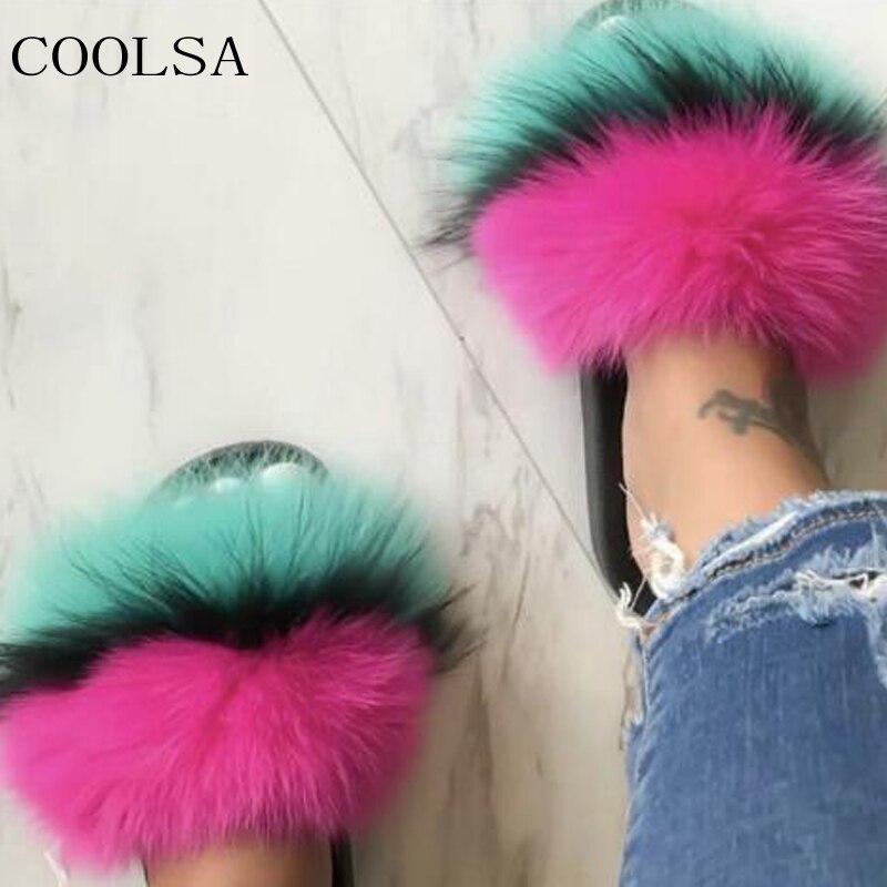 COOLSA Summer Women's Fur Slippers Real Fox Fur Woman Slides Home Furry Flat Sandals Female Cute Fluffy House Shoes Flip Flops