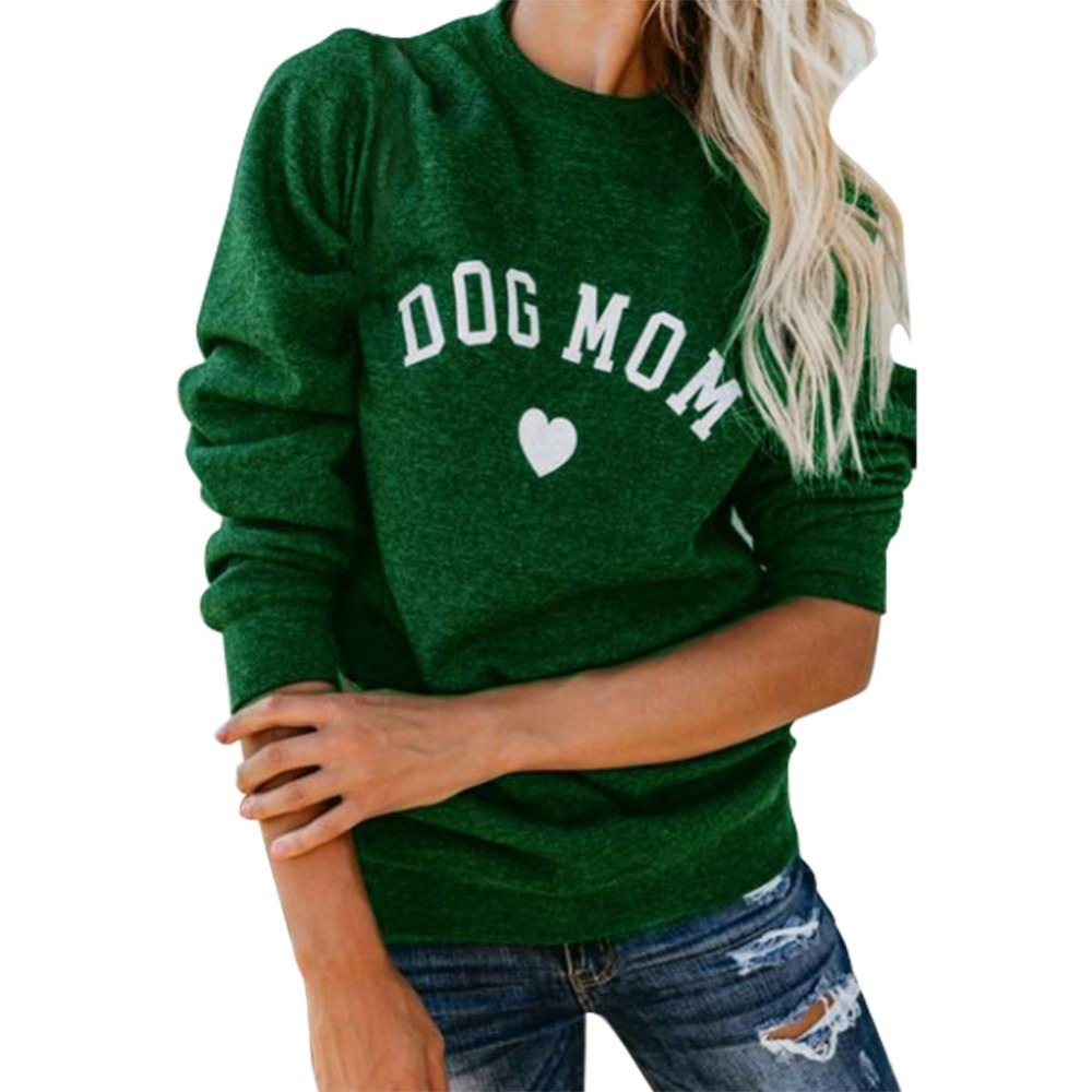Drop Shipping DOG MOM Funny Letter Print Sweatshirt For Women Full Sleeve Casual Tops Female Autumn Clothes Feminina Sweatshirts 2