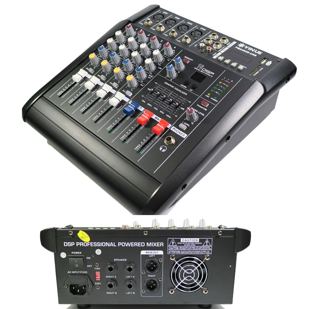Pro 4 Channel Live Studio Audio Mixers Mixer Mixing Console 800W Power Amplifier in Karaoke Player from Consumer Electronics