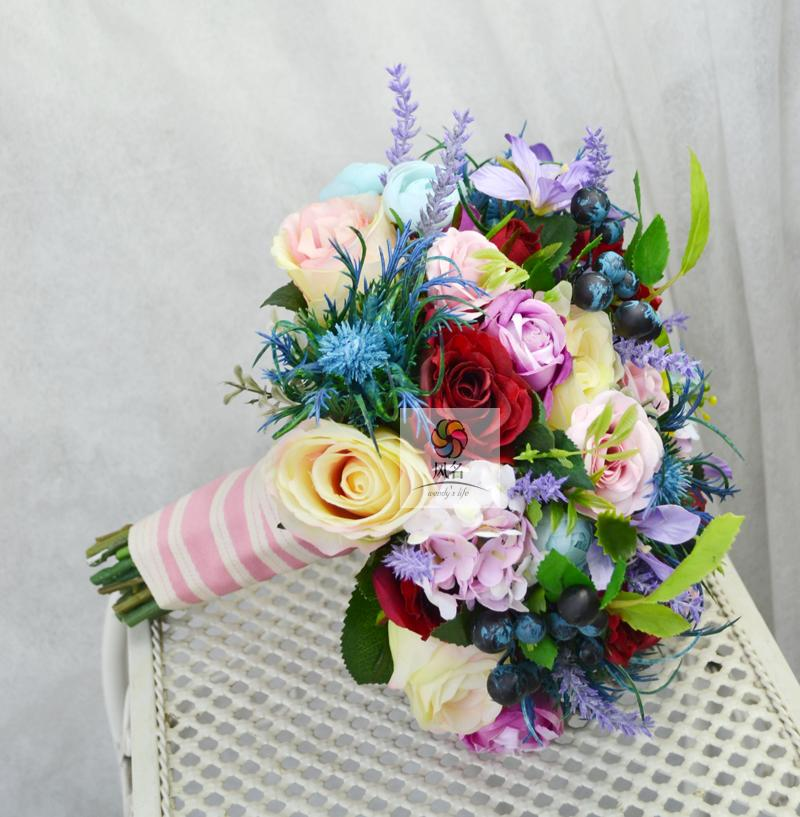 Handmade Wedding Floral Bridal Bouquet Bride Bouquet Artificial Flowers Photography Props Hand Holding Flower Colorful Flowers