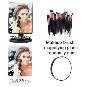 Image 3 - Lupa z lampą LED profesjonalne lusterka do makijażu z regulowanym ekranem dotykowym 16/22 profesjonalne oświetlone lustra do makijażu kosmetycznego