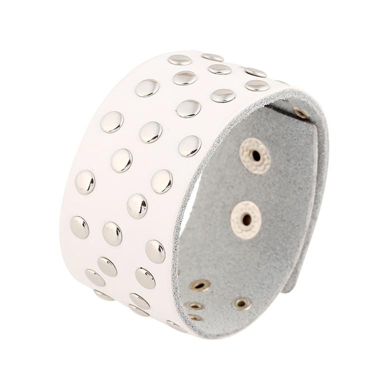 Mens Punk Wide White Leather Bracelet