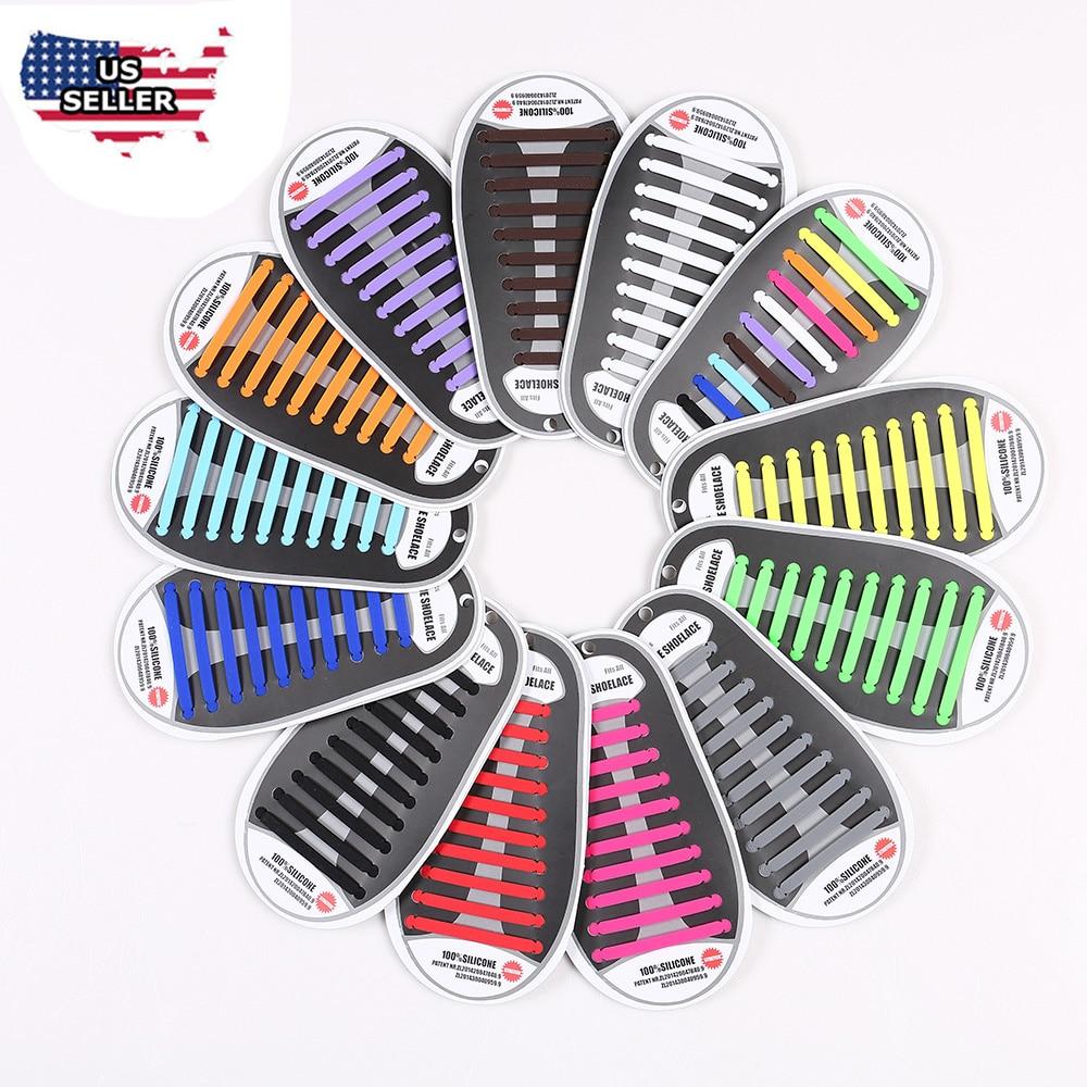 20Pc/Set Women Men Fashion Athletic Running No Tie Shoelaces Elastic Silicone Shoe Lace  ...