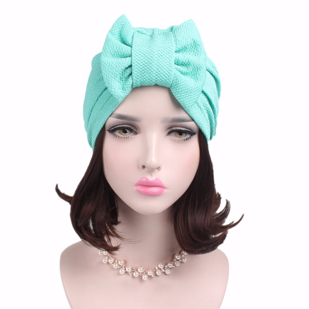 2017 Indian Style Kerchief Covering Head Hat Confinement Cap Solid Color Bowknot Style Eucomis Comosa Patterns Muslim Hat Sep19