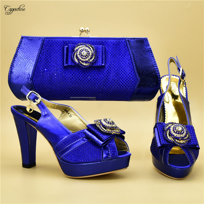 Latest royal blue party set high heel shoes with bag set with rhinestones for lady 999-4 free shippingLatest royal blue party set high heel shoes with bag set with rhinestones for lady 999-4 free shipping