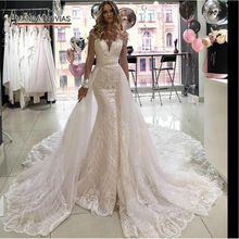 Mermaid wedding dress with detachable skirt train