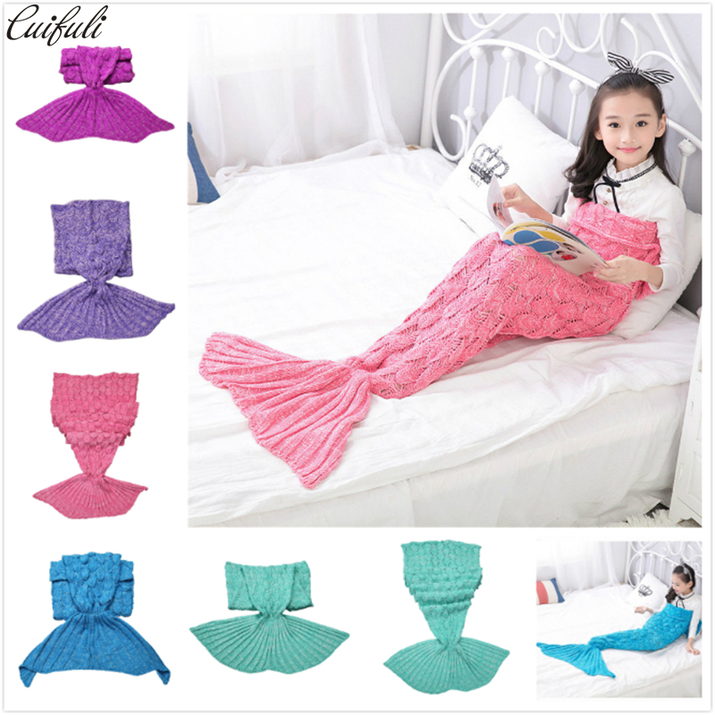Children Yarn Knitted Mermaid Tail Blanket Handmade Crochet Mermaid Blanket Throw Bed Sofa Wrap Lovely Cosplay Costume 140*70cm