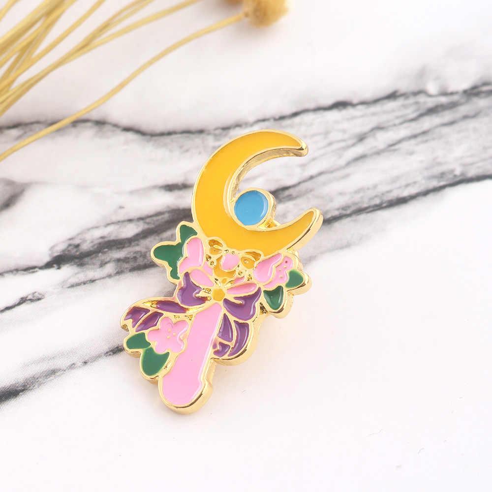 Tsukino Usagi Bulan Tongkat Bunga Pin Bros Sailor Moon Enamel Bros untuk Wanita Anak Kerah Pin Perhiasan Hadiah