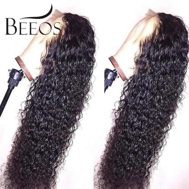 Predesplumado 13x6 parte profunda de encaje frontal rizado pelucas de cabello humano negro con extremos completos ondas húmedas y onduladas pelucas de cabello Remy peruano para mujer