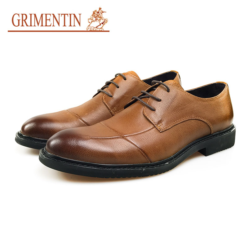 GRIMENTIN Classic Men Dress Shoes 2018 High Quality Lather Brown Orange Formal Shoes Lace Up Casual Business Shoes grimentin fashion men oxford shoes 2018 genuine lather black formal shoes round toe classic casual business shoes