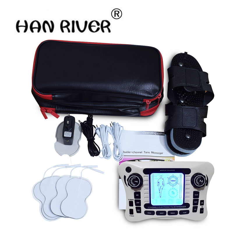 Dual channel pain relief nerve muscle tens electro stimulator body therapy massager physiotherapy apparatus foot massage slipper ce semiconductor low level laser therapy for body pain relief healthcare physiotherapy body massager