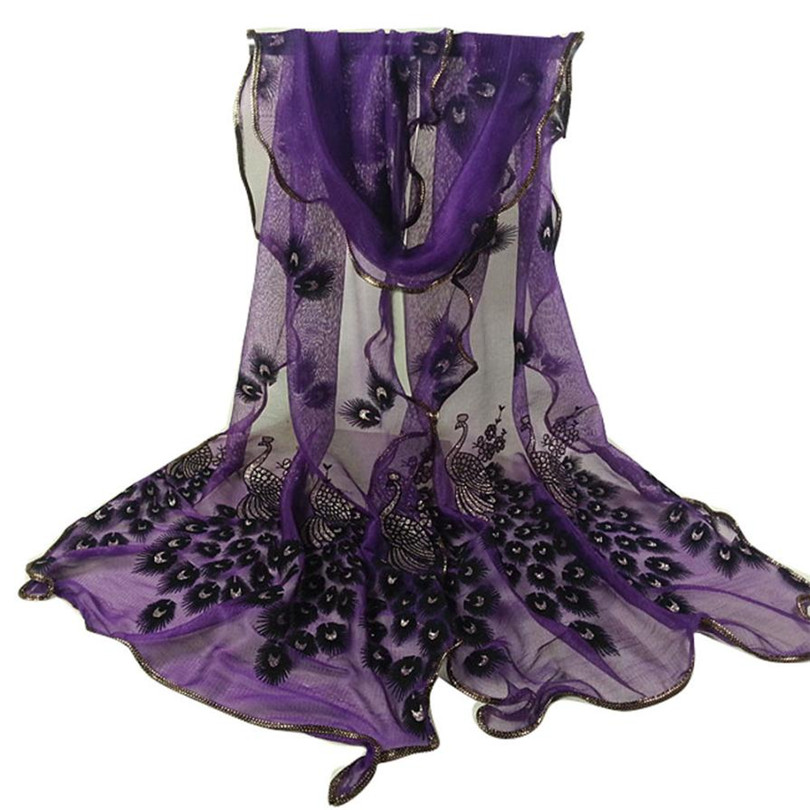 2019 # Durable 2019 Hot Scarf For Women Autumn Winter Peacock Flower Embroidered Lace Scarf Long Soft Wrap Shawl