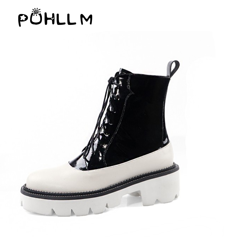PUHLLM Boot 2019Autumn and Winter Thick soled Color Matching Boots England Retro Horse New Explosions Fashion Women 39 s BootsF27 in Ankle Boots from Shoes