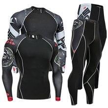 Мужская одежда компрессионная мужская футболка+ леггинсы Рашгард Комплект топ с длинными рукавами для фитнеса мужской спортивный костюм термобелье база