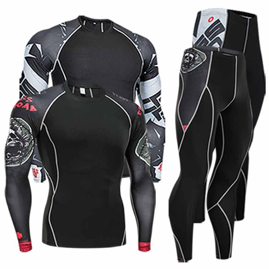 Herenkleding compressie mannen t-shirt + leggings rashgard kit lange mouwen top voor fitness man trainingspak thermisch ondergoed basis