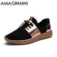 AMAGINMNI Brand 2018 New Summer Breathable Shoes Men Flat Shoes Autumn Fashion Men Shoes Couple Casual