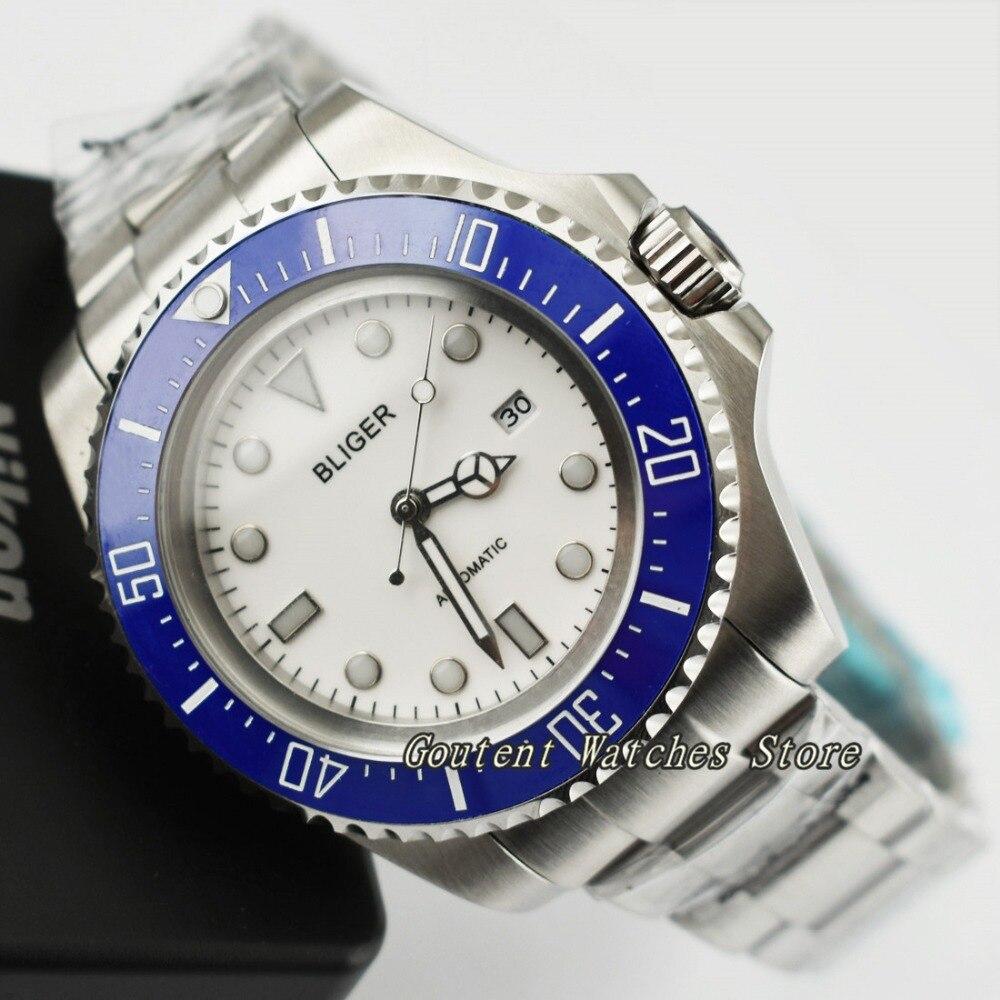 43มิลลิเมตรBligerวันสีขาวแบบDialฝาเซรามิกสีฟ้าเอสเอส.กรณีอัตโนมัติชายดู-ใน นาฬิกาข้อมือกลไก จาก นาฬิกาข้อมือ บน   1