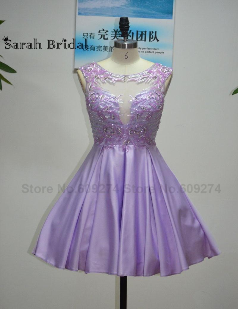 Baratos Robe de vestido de cóctel vestido de encaje lila corto ...