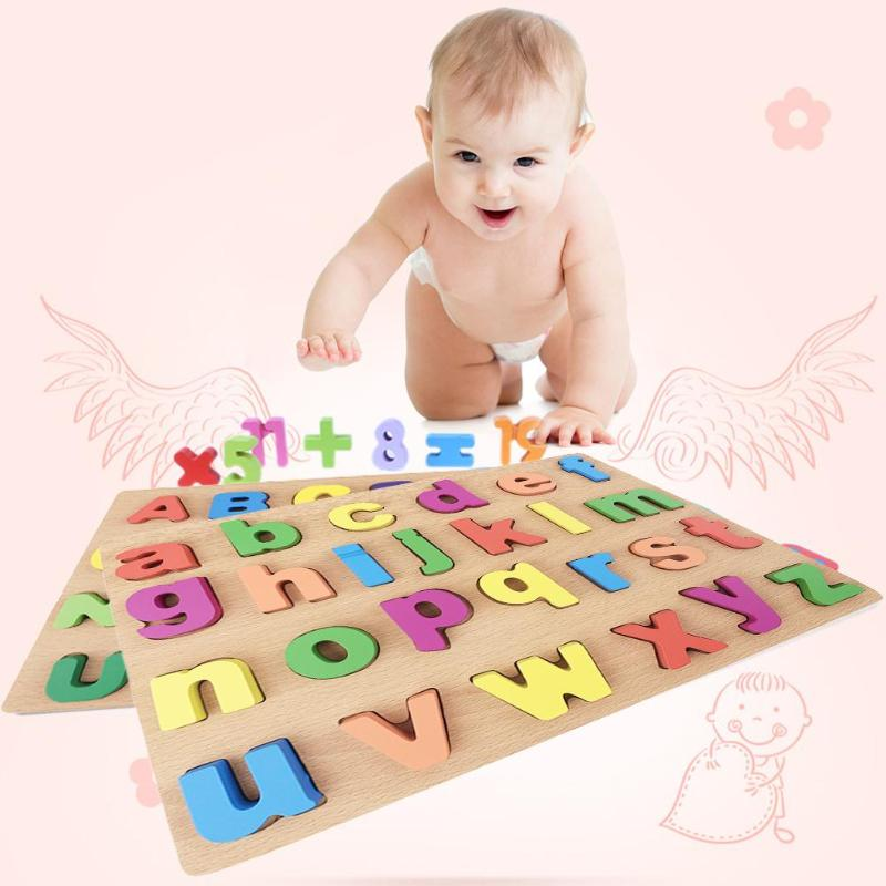 Wooden Puzzle Letters Toy Kids Baby Alphabet Early Educational Montessori Toy Intelligence Children Baby Gift High Quality baby toys montessori toy interesting digital alphabet sets wooden building blocks educational block toy gift