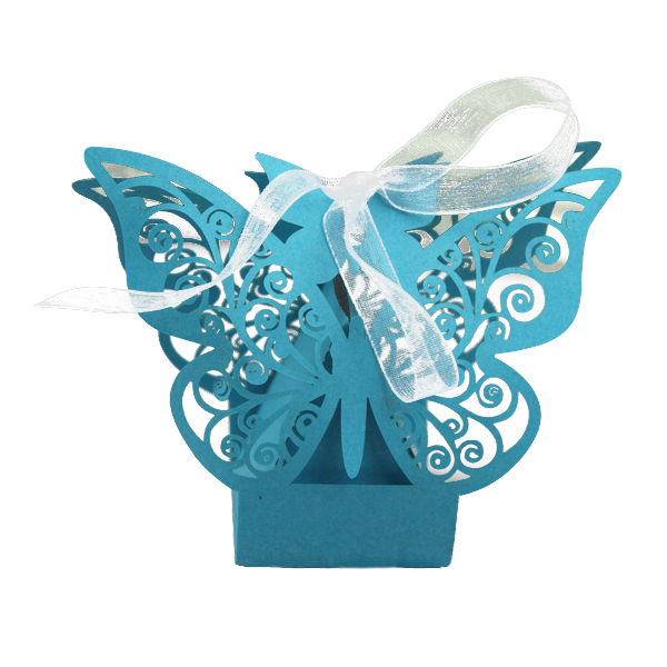 20 PCS Laser Cut Delicate Carved Butterfly Elegant Candy Boxes with Ribbon for Party Birthday Wedding Banquet Kindergarten Bri