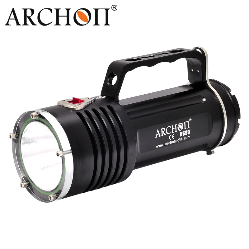 ARCHON DG90 Rechargeable Underwater Dive Torch Cree SST-90 2200lm 200M Waterproof Handle Diving Light with 6 X 18650 Battery