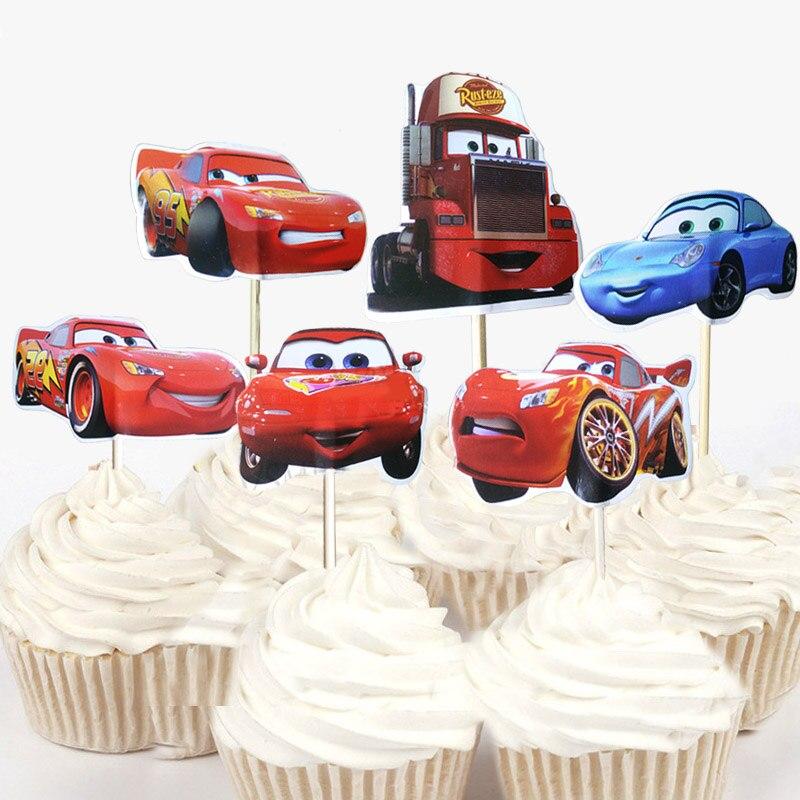 6 PCS Kids Disney Car McQueen Happy Birthday Party Paper Hats Set Decoration