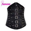 Women Sexy Steampunk Rivet Corset Underbust Leather Steel Bones Corsets Steel buckle Espartilho Corselet