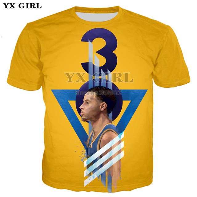 39083d13 YX Girl 2018 Mens Clothes Basket Ball Player Stephen Curry 3D Printed T  shirt For Men/Women Casual T-shirt Orange Color Tees