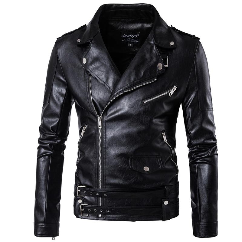 Große größe 5XL Männer top schwarz casual leder kleidung zipper gürtel schmücken herbst und winter mantel Zipper armband Leder jacke-in Kunstpelzmäntel aus Herrenbekleidung bei  Gruppe 1