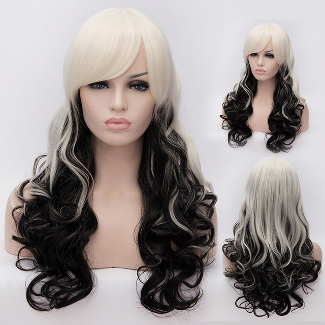 b3698664625 US $37.5 |Popular sexy Long two tone ombre wig black white mix color  Fashion women party wigs Heat Resistant Synthetic Hair on Aliexpress.com |  ...