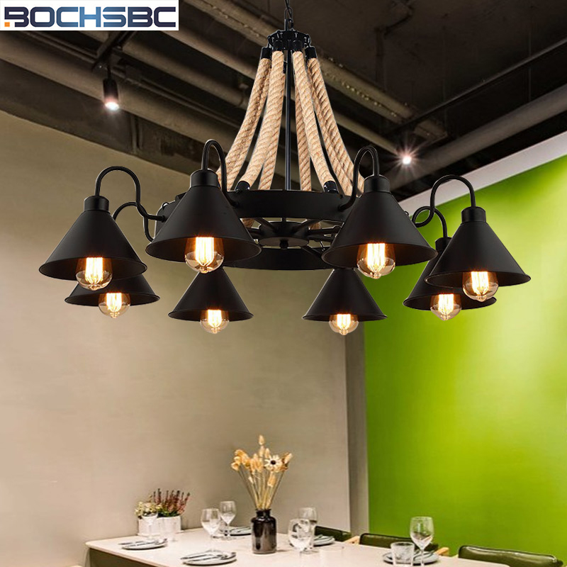 Reliable Bochsbc Hemp Rope Industrial Lampshade Iron Pendant Lights For Living Room Dining Room Loft Clothe Creative Retro Hanging Lamp Pendant Lights