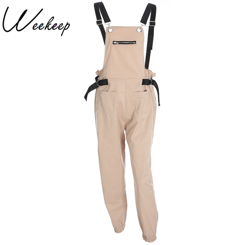 Weekeep Women Fashion Loose Calf Length Wide Pants Rompers Casual Cotton Womens Jumpsuit Overalls Strap Backless Jumpsuits