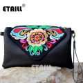 Chinese Hmong Floral Pu Leather Embroidered Bags Women Messenger Bags Ethnic Boho Embroidery Crossbody Shoulder Bag Bolso Mujer