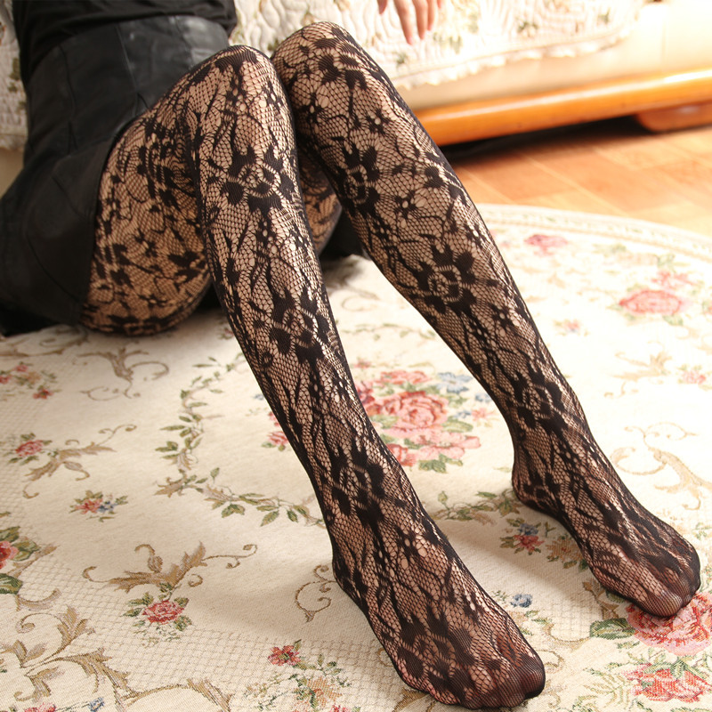 Buy Hollow lace sexy mesh pantyhose retro flower printing high elasticity comfortable fishnet stockings fashion women thin Tights