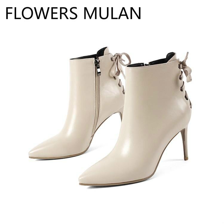Hiver Hauts Retour Mode Mujer Talons Pointu Chic Femme Croix blanc Blanc Noir Zapatos De Bout Chaussons Dames Liée Chaussures Noir Yvbf76gy