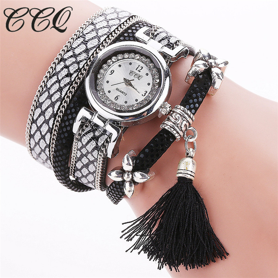 CCQ Brand Fashion Women Bracelet Watch Silver Original Design Tassel Pendant Wristwatches Leather Vintage Quartz Watches C75