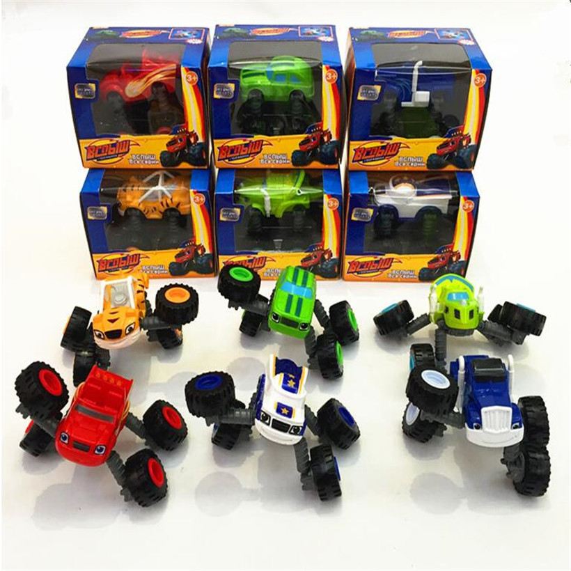 6 Pcs/Set Hot Toys Anime Figure Blaze Monster Machines PVC Car Toy Action Figure Model Toys For Children Juguetes Birthday Gifts