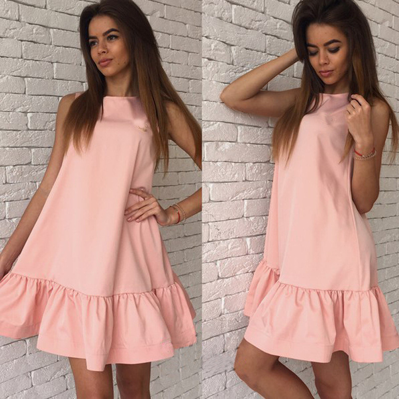 2018 Summer Women Dresses Casual Beach Party Chiffon Dress Ruffle Sleeveless Sundress Female Fashion Mini Sexy Dresses