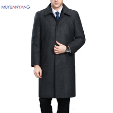 مو يوان يانغ الرجال الشتاء سترة الصوف النمط البريطاني أطول القسم الصوفية الرجال السترات ملابس خارجية دافئة واحدة الصدر الصوف و Blends