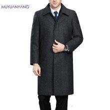 Mu Yuan Yang Männer Winter Jacke Wolle Britischen Stil Längere Abschnitt Woolen Männer Jacken Oberbekleidung Warme Einreiher Wolle & blends
