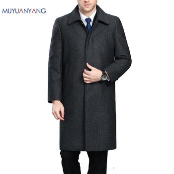 Mu Yuan Yang Men Winter Jacket Wool British Style Longer Section Woolen Men Jackets Outerwear Warm Single Breasted Wool & Blends