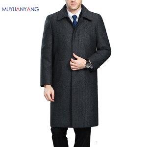 Image 1 - Mu Yuan Yang hommes veste dhiver laine Style britannique plus longue Section laine hommes veste matelassée chaud simple boutonnage laine et mélanges