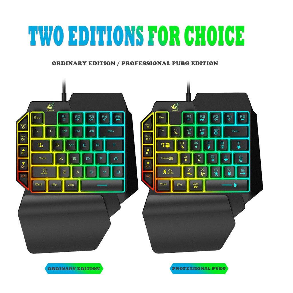 39 T15 Wired Gaming Teclado com Retroiluminação LED Teclado de Membrana Chaves One-handed # YJG