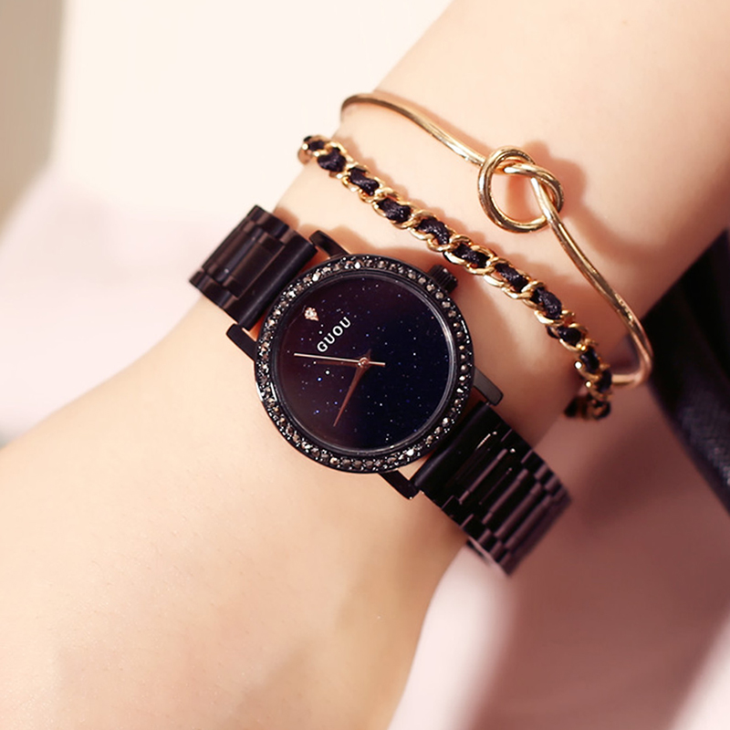 4f2e7189b86 Luxury Brand Ladies Women Full Black Alloy Steel Big Dial Black Crystal  Diamond Quartz watches Clocks Dress Female Gift Clocks-in Women s Watches  from ...